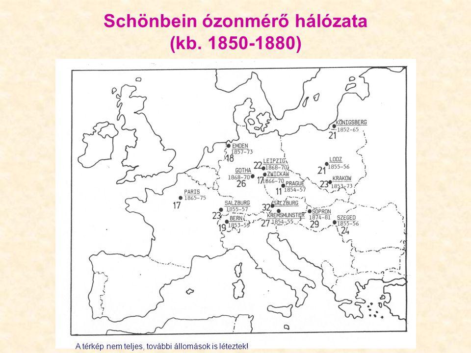Schönbein ózonmérő hálózata (kb. 1850-1880) A térkép nem teljes, további állomások is léteztek!