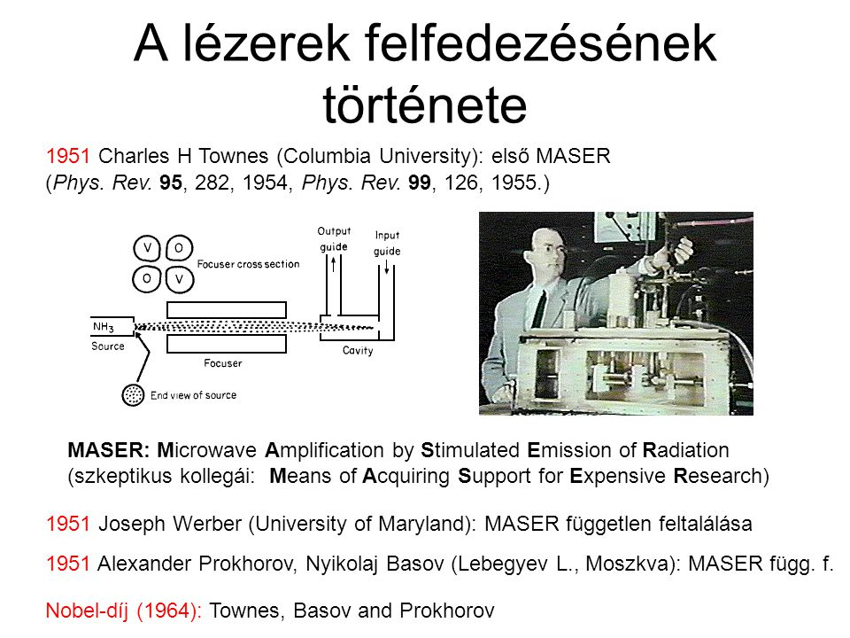 A lézerek felfedezésének története Nobel-díj (1964): Townes, Basov and Prokhorov MASER: Microwave Amplification by Stimulated Emission of Radiation (s