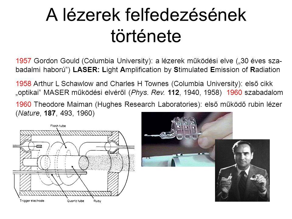 """A lézerek felfedezésének története 1957 Gordon Gould (Columbia University): a lézerek működési elve (""""30 éves sza- badalmi haború ) LASER: Light Amplification by Stimulated Emission of Radiation 1958 Arthur L Schawlow and Charles H Townes (Columbia University): első cikk """"optikai MASER működési elvéről (Phys."""