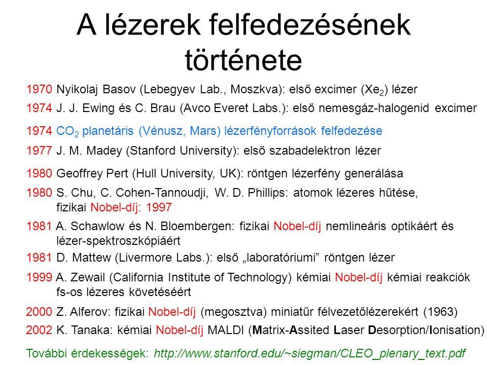 A lézerek felfedezésének története 1970 Nyikolaj Basov (Lebegyev Lab., Moszkva): első excimer (Xe 2 ) lézer 1974 J.