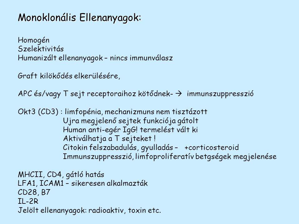 Monoklonális Ellenanyagok: Homogén Szelektivitás Humanizált ellenanyagok – nincs immunválasz Graft kilökődés elkerülésére, APC és/vagy T sejt receptor