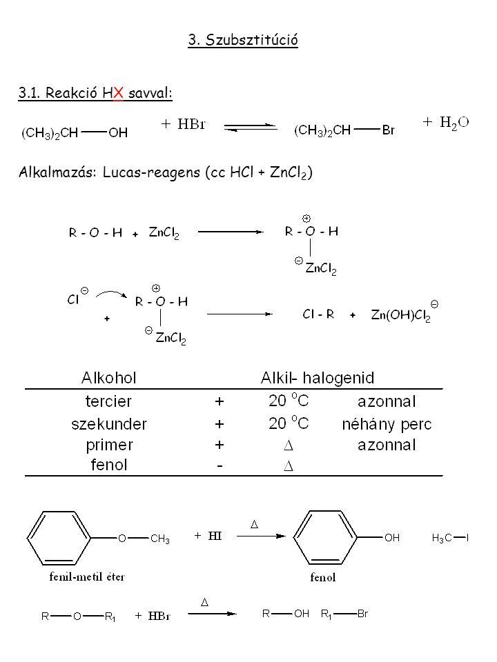 3. Szubsztitúció 3.1. Reakció HX savval: Alkalmazás: Lucas-reagens (cc HCl + ZnCl 2 )