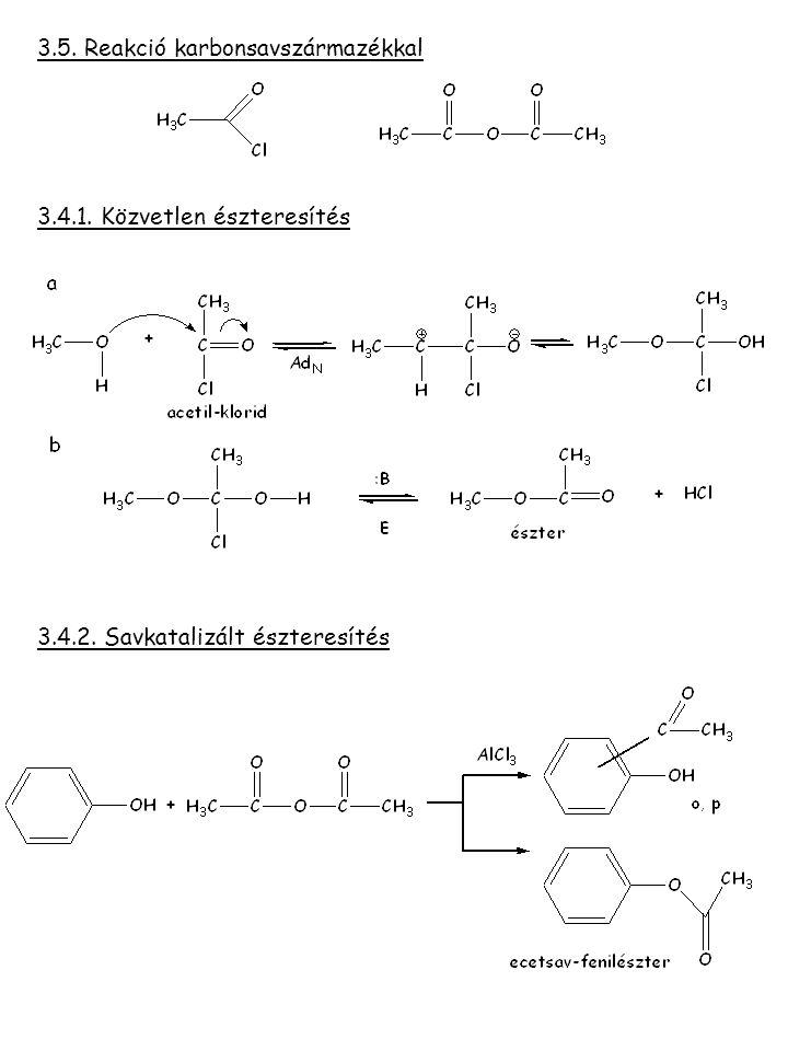 3.5. Reakció karbonsavszármazékkal 3.4.1. Közvetlen észteresítés 3.4.2. Savkatalizált észteresítés