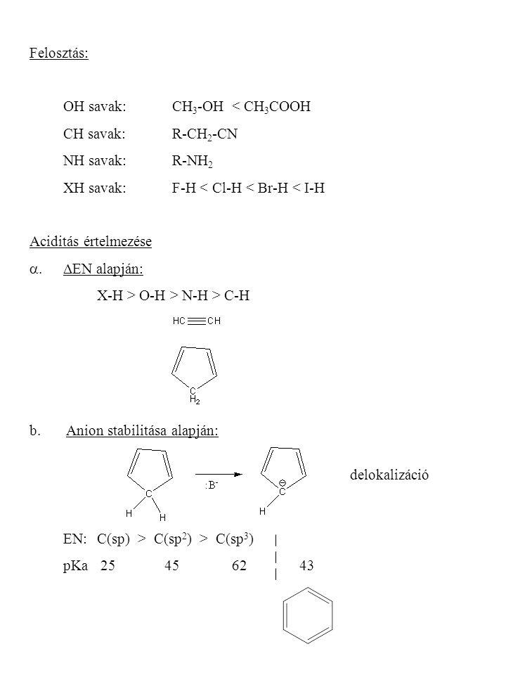 Felosztás: OH savak: CH 3 -OH < CH 3 COOH CH savak: R-CH 2 -CN NH savak: R-NH 2 XH savak: F-H < Cl-H < Br-H < I-H Aciditás értelmezése  EN alapján: X-H > O-H > N-H > C-H b.