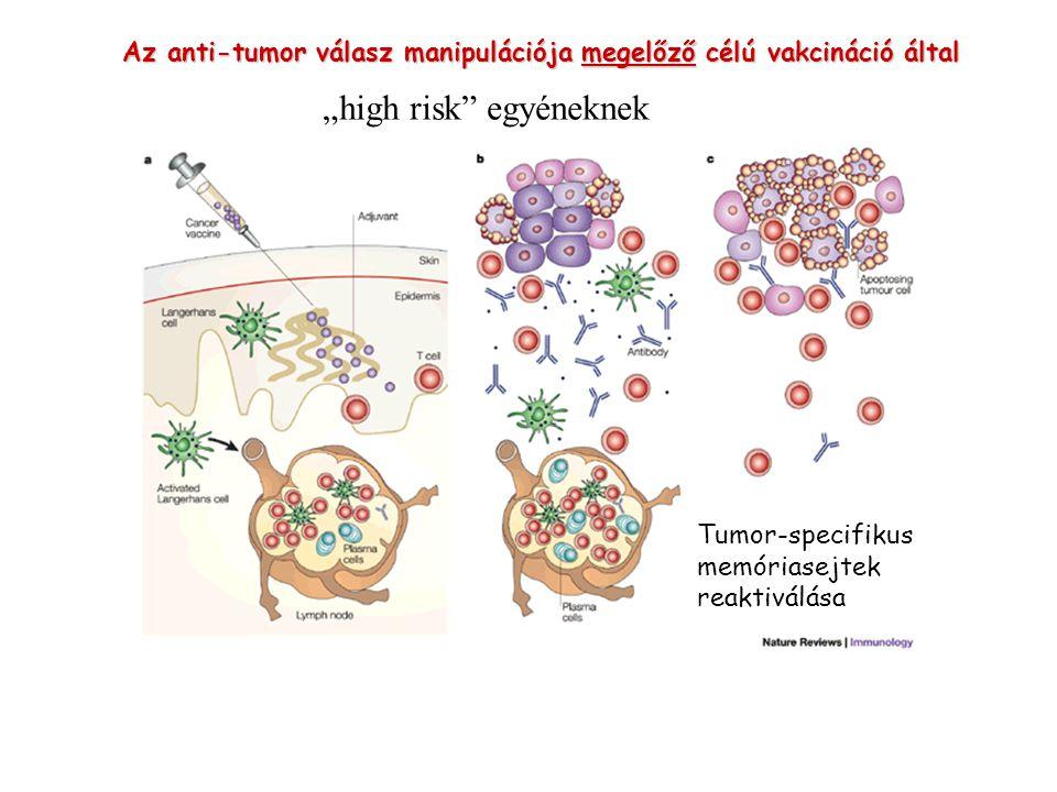 """Az anti-tumor válasz manipulációja megelőző célú vakcináció által Tumor-specifikus memóriasejtek reaktiválása """"high risk"""" egyéneknek"""