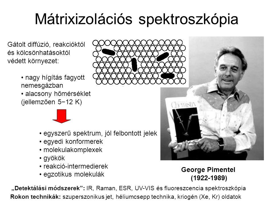 Mátrixizolációs spektroszkópia George Pimentel (1922-1989) Gátolt diffúzió, reakcióktól és kölcsönhatásoktól védett környezet: nagy hígítás fagyott ne