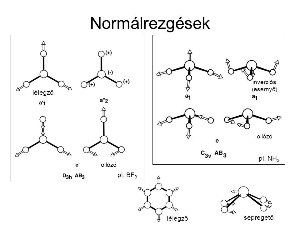 Szimmetria és az IR/Raman aktív rezgések Csoportelmélet, karaktertáblázatok A pontcsoport Schoenflies szimbóluma Szimmetriaművelet IR aktív rezgések Raman aktív rezgések forgások irreducibilis reprezentáció
