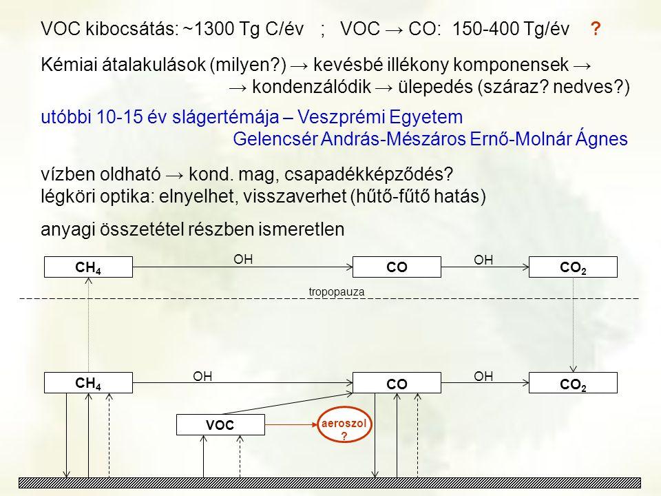 CH 4 CO 2 CH 4 OH tropopauza VOC CO OH aeroszol ? CO 2 OH CO VOC kibocsátás: ~1300 Tg C/év ; VOC → CO: 150-400 Tg/év ? Kémiai átalakulások (milyen?) →