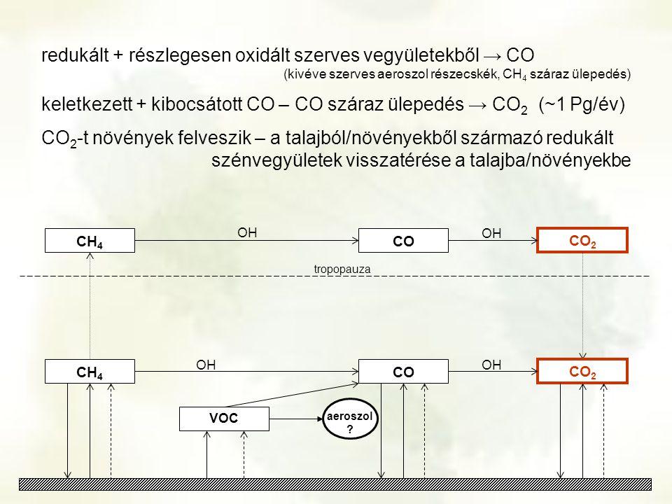 CH 4 CO 2 CH 4 OH tropopauza VOC CO OH aeroszol ? CO 2 OH CO redukált + részlegesen oxidált szerves vegyületekből → CO (kivéve szerves aeroszol részec
