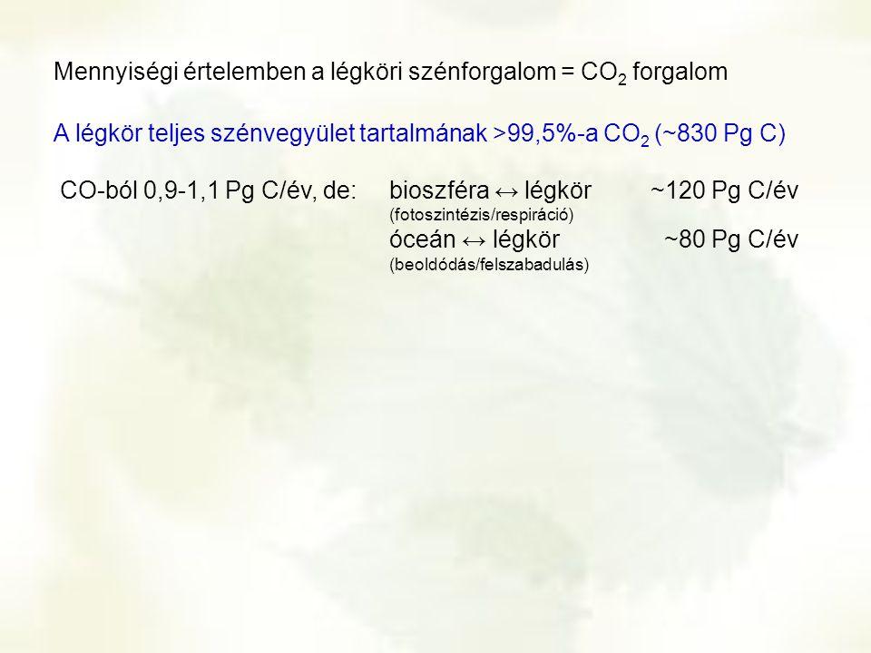 bioszféra ↔ légkör~120 Pg C/év (fotoszintézis/respiráció) óceán ↔ légkör ~80 Pg C/év (beoldódás/felszabadulás) CO-ból 0,9-1,1 Pg C/év, de: Mennyiségi