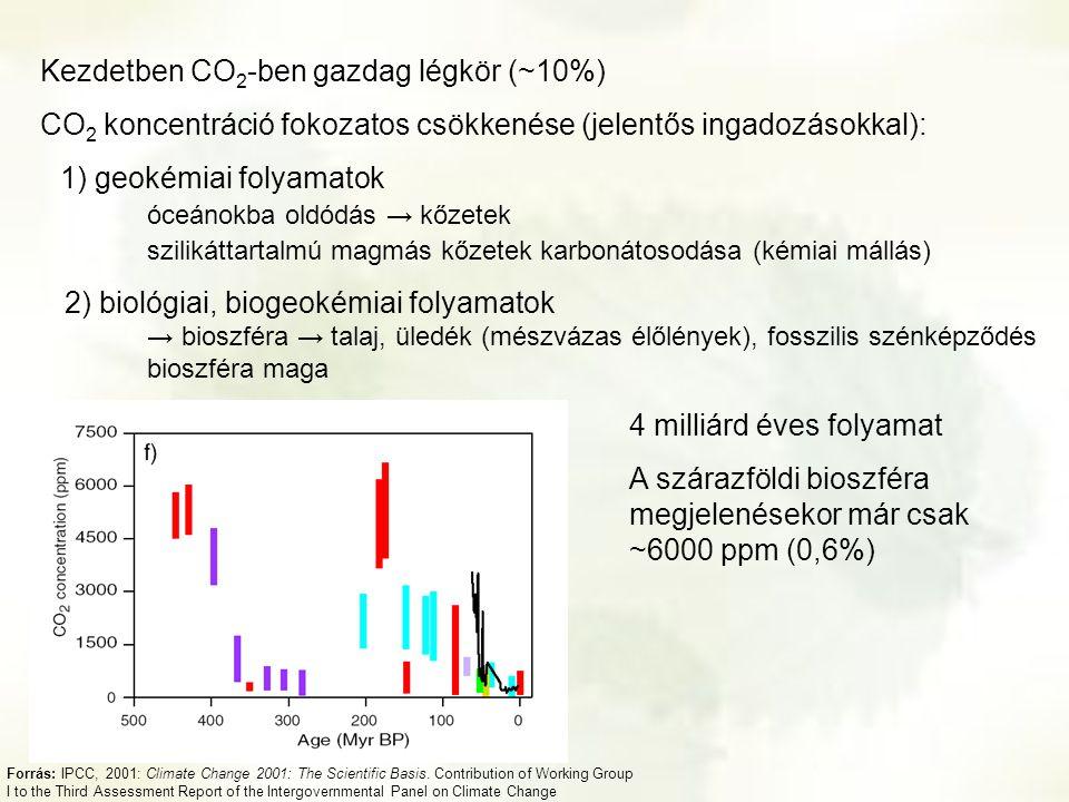 Kezdetben CO 2 -ben gazdag légkör (~10%) CO 2 koncentráció fokozatos csökkenése (jelentős ingadozásokkal): 1) geokémiai folyamatok óceánokba oldódás →