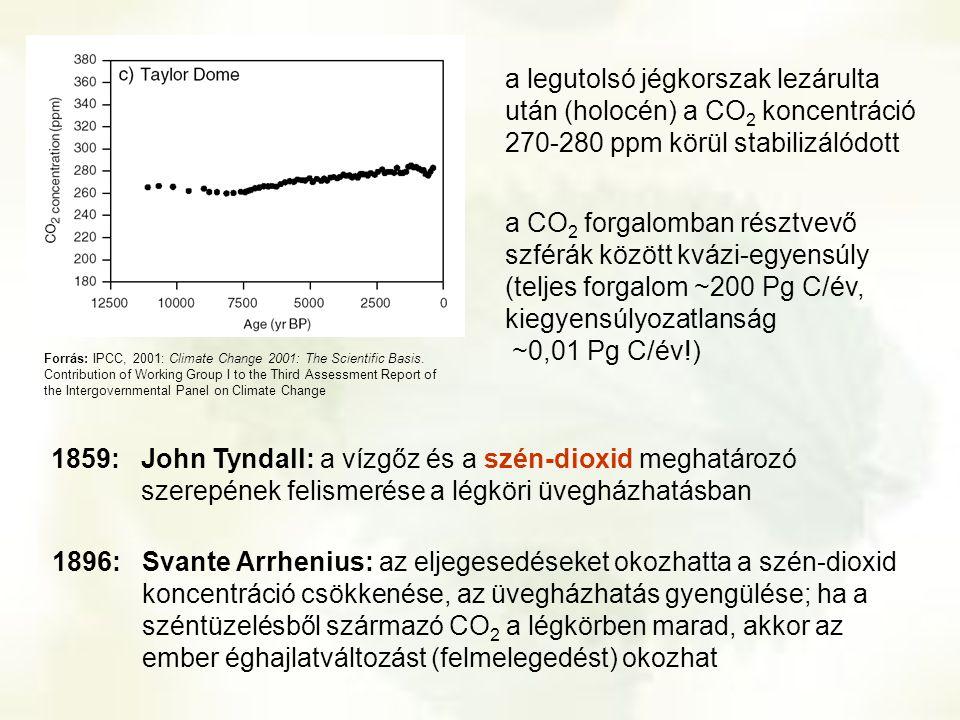 a legutolsó jégkorszak lezárulta után (holocén) a CO 2 koncentráció 270-280 ppm körül stabilizálódott a CO 2 forgalomban résztvevő szférák között kváz