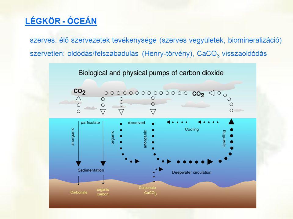 LÉGKÖR - ÓCEÁN szerves: élő szervezetek tevékenysége (szerves vegyületek, biomineralizáció) szervetlen: oldódás/felszabadulás (Henry-törvény), CaCO 3