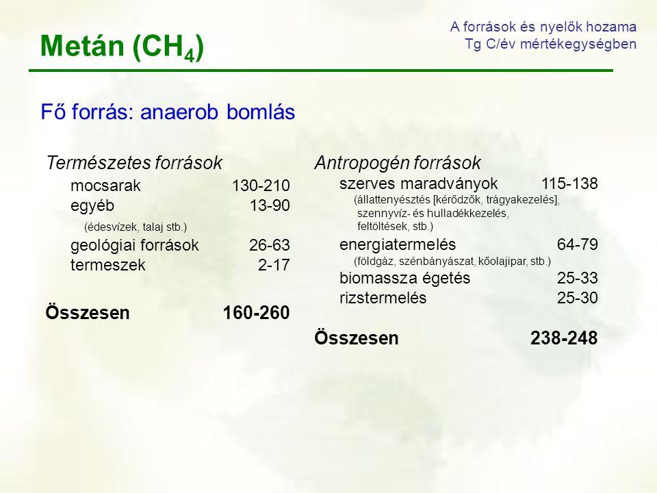 Metán (CH 4 ) A források és nyelők hozama Tg C/év mértékegységben Antropogén források szerves maradványok115-138 (állattenyésztés [kérődzők, trágyakez