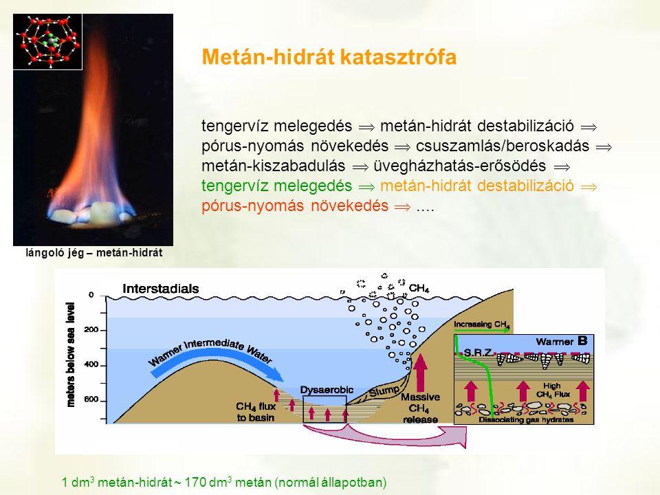 tengervíz melegedés  metán-hidrát destabilizáció  pórus-nyomás növekedés  csuszamlás/beroskadás  metán-kiszabadulás  üvegházhatás-erősödés  teng