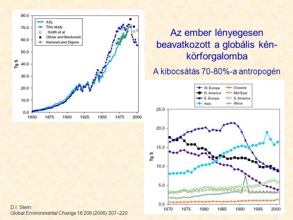 Az ember lényegesen beavatkozott a globális kén- körforgalomba A kibocsátás 70-80%-a antropogén D.I. Stern: Global Environmental Change 16 208 (2006)