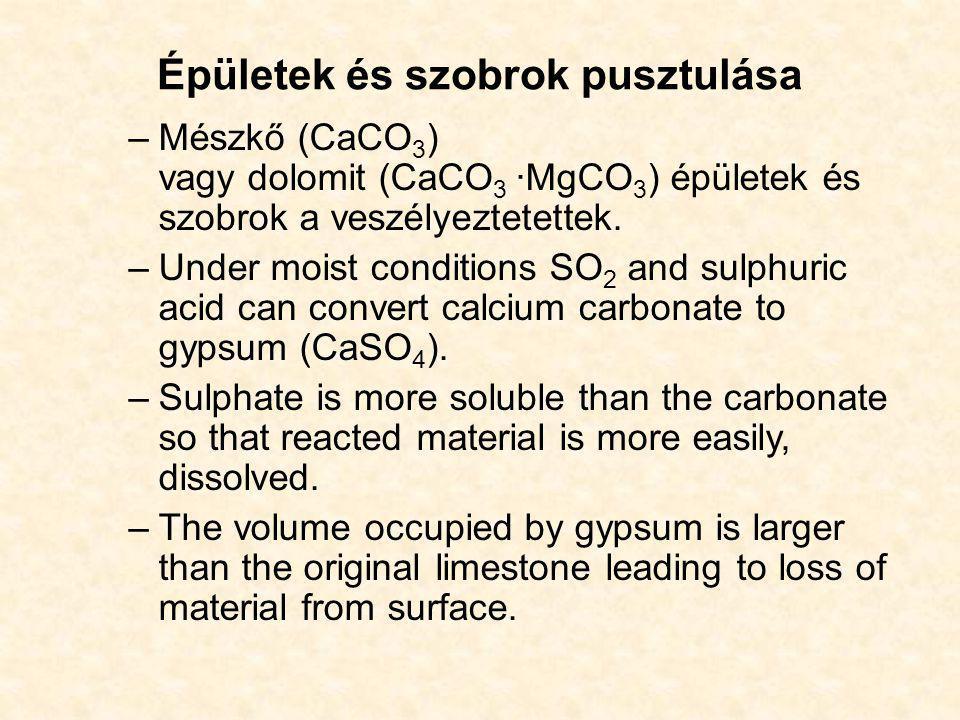 Épületek és szobrok pusztulása –Mészkő (CaCO 3 ) vagy dolomit (CaCO 3 ·MgCO 3 ) épületek és szobrok a veszélyeztetettek. –Under moist conditions SO 2