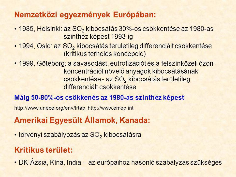 Nemzetközi egyezmények Európában: 1985, Helsinki: az SO 2 kibocsátás 30%-os csökkentése az 1980-as szinthez képest 1993-ig 1994, Oslo: az SO 2 kibocsá