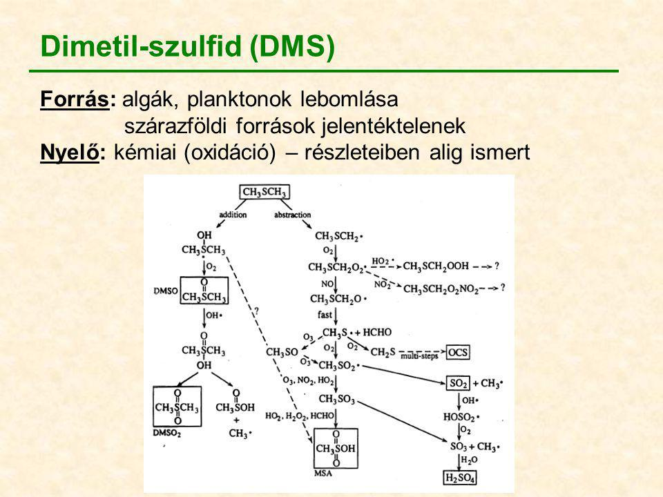 Dimetil-szulfid (DMS) Forrás: algák, planktonok lebomlása szárazföldi források jelentéktelenek Nyelő: kémiai (oxidáció) – részleteiben alig ismert