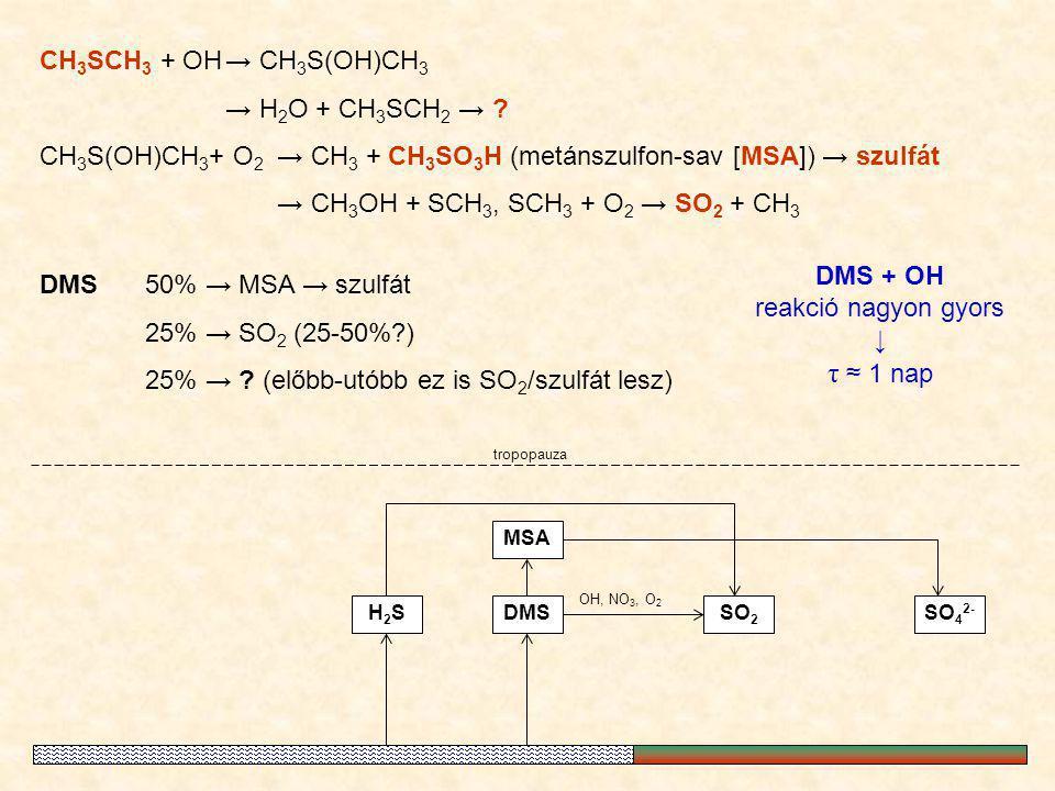 CH 3 SCH 3 + OH→ CH 3 S(OH)CH 3 → H 2 O + CH 3 SCH 2 → ? CH 3 S(OH)CH 3 + O 2 → CH 3 + CH 3 SO 3 H (metánszulfon-sav [MSA]) → szulfát → CH 3 OH + SCH