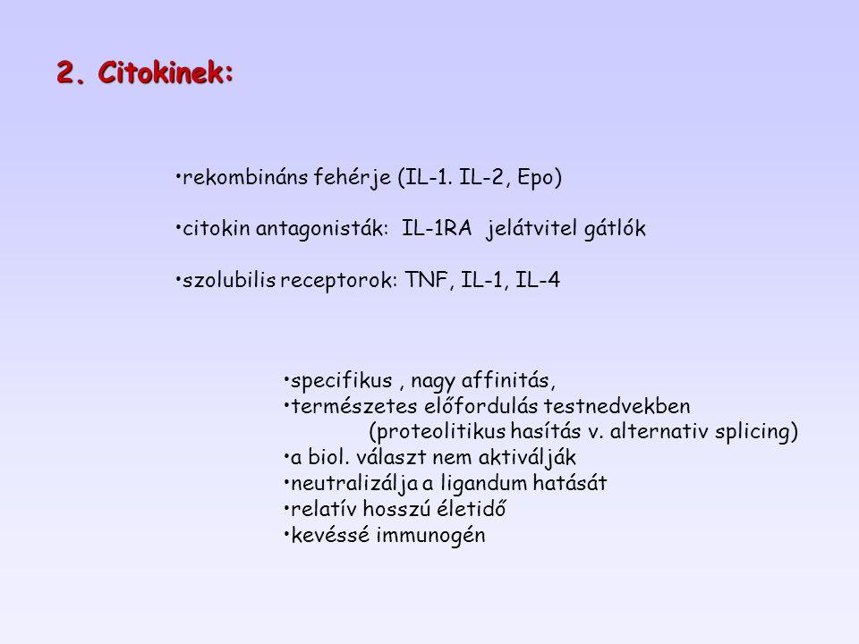 specifikus, nagy affinitás, természetes előfordulás testnedvekben (proteolitikus hasítás v. alternativ splicing) a biol. választ nem aktiválják neutra