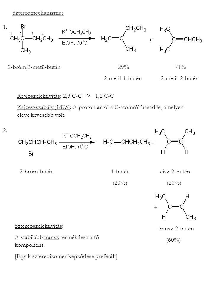 Sztereomechanizmus 2-bróm,2-metil-bután 29% 71% 2-metil-1-butén 2-metil-2-butén Regioszelektivitás: 2,3 C-C > 1,2 C-C Zajcev-szabály (1875): A proton arról a C-atomról hasad le, amelyen eleve kevesebb volt.