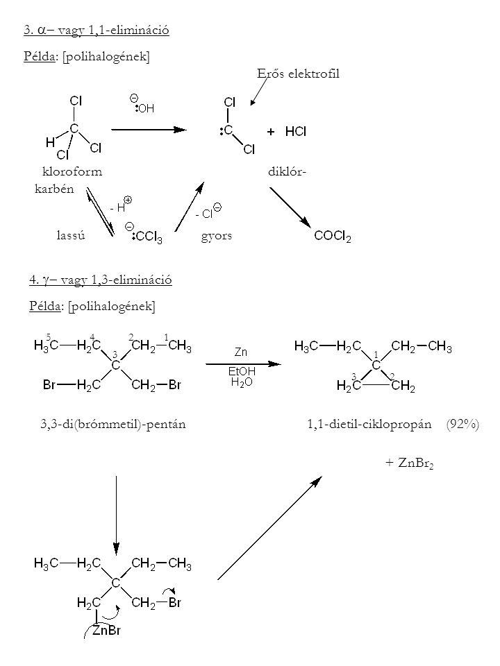 3.  vagy 1,1-elimináció Példa: [polihalogének] kloroform diklór- karbén Erős elektrofil lassúgyors 4.  vagy 1,3-elimináció Példa: [polihalogének]