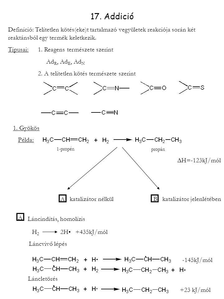 17. Addició Definíció: Telítetlen kötés(eke)t tartalmazó vegyületek reakciója során két reaktánsból egy termék keletkezik. Típusai:1. Reagens természe