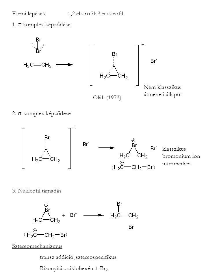 Elemi lépések1,2 elktrofil; 3 nukleofil 1. -komplex képződése 2.