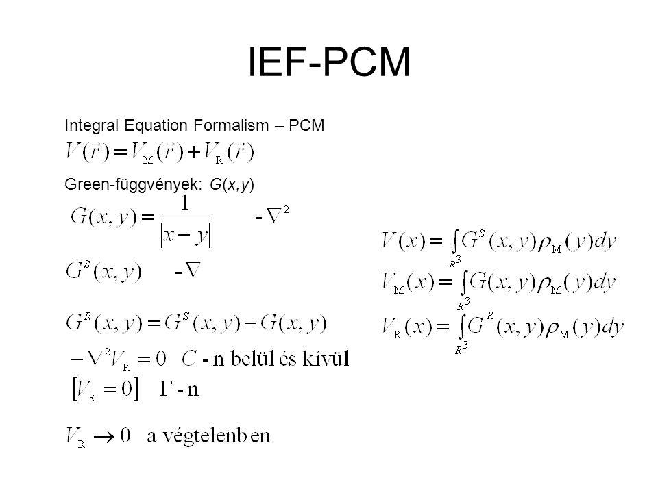IEF-PCM Integral Equation Formalism – PCM Green-függvények: G(x,y)