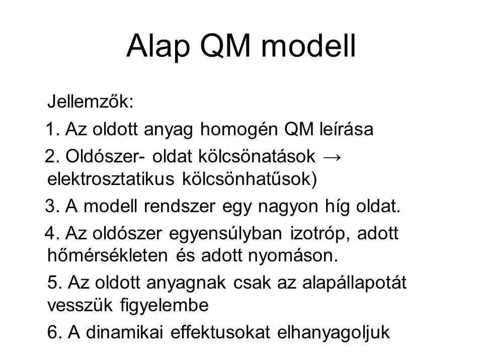 Alap QM modell Jellemzők: 1. Az oldott anyag homogén QM leírása 2.
