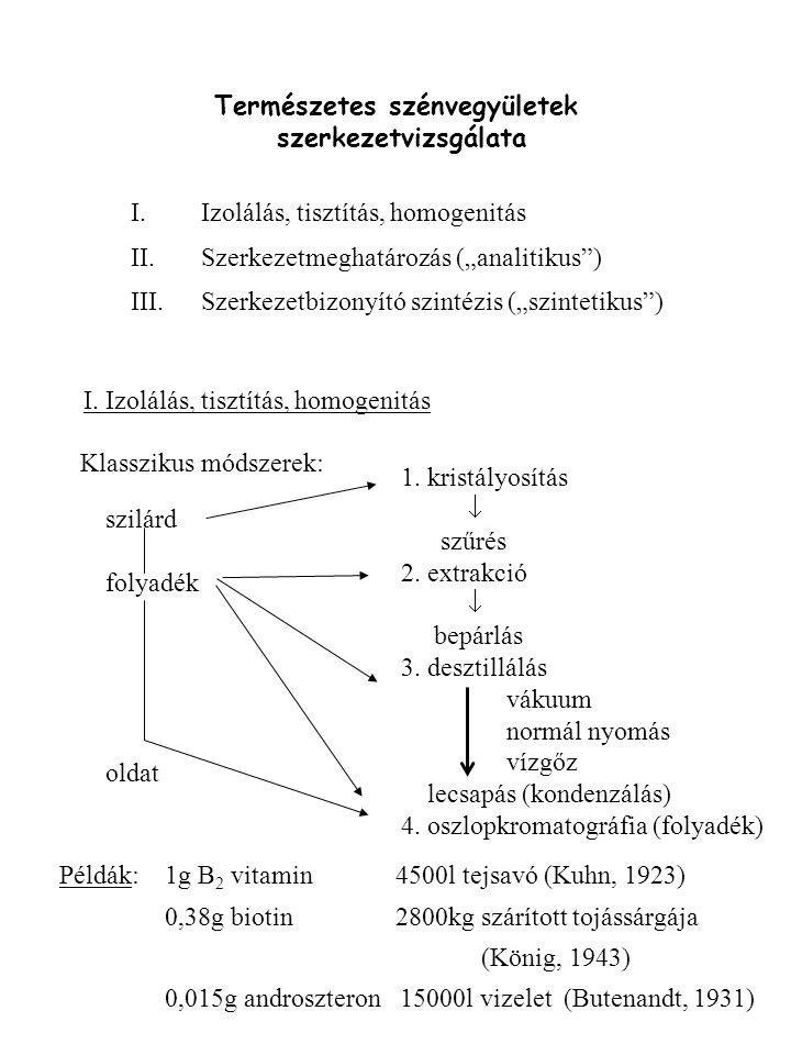 """Természetes szénvegyületek szerkezetvizsgálata I.Izolálás, tisztítás, homogenitás II.Szerkezetmeghatározás (""""analitikus"""") III.Szerkezetbizonyító szint"""
