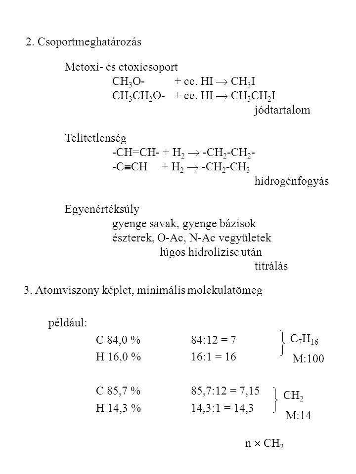 Metoxi- és etoxicsoport CH 3 O- + cc. HI  CH 3 I CH 3 CH 2 O- + cc. HI  CH 3 CH 2 I jódtartalom Telítetlenség -CH=CH- + H 2  -CH 2 -CH 2 - -C  CH