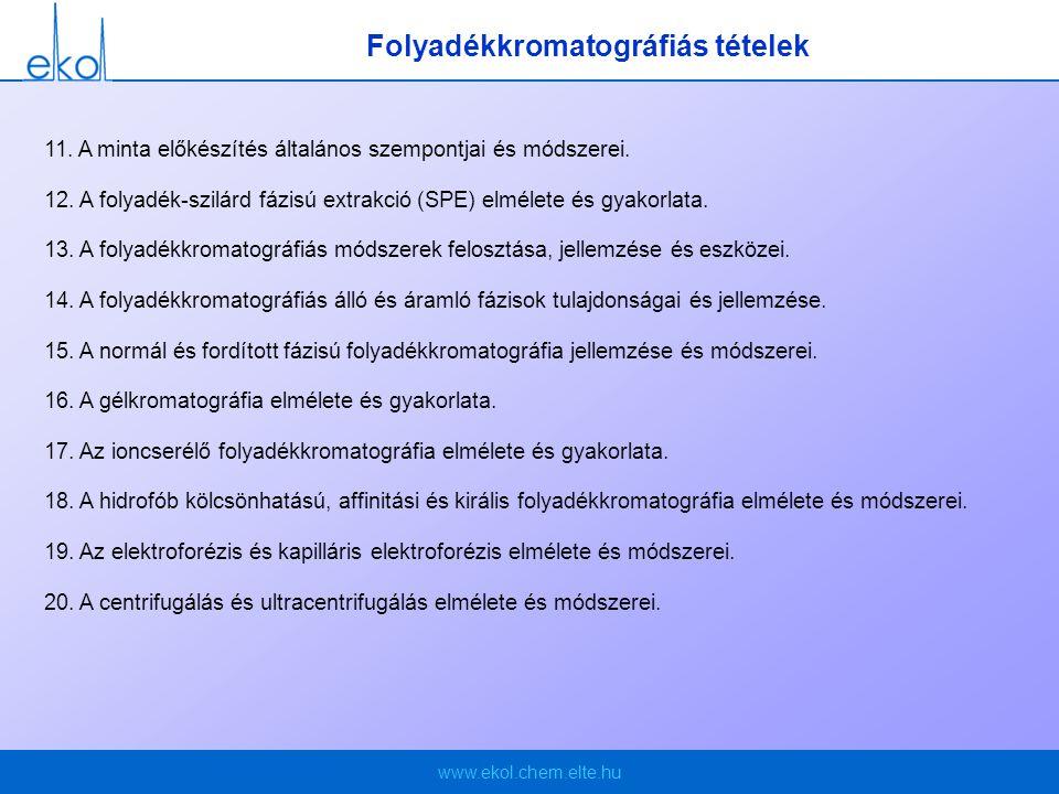 www.ekol.chem.elte.hu Folyadékkromatográfiás tételek 11.
