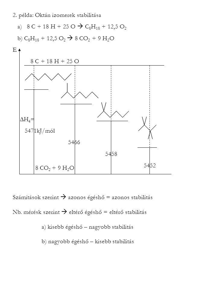 2. példa: Oktán izomerek stabilitása a) 8 C + 18 H + 25 O  C 8 H 18 + 12,5 O 2 b) C 8 H 18 + 12,5 O 2  8 CO 2 + 9 H 2 O E 8 C + 18 H + 25 O 8 CO 2 +