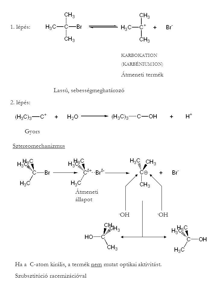1. lépés: KARBOKATION (KARBÉNIUM ION) Átmeneti termék Lassú, sebességmeghatározó 2. lépés: Gyors Sztereomechanizmus - OH Ha a C-atom királis, a termék