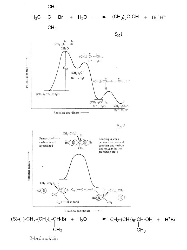SN1SN1 SN2SN2 2-brómoktán + Br - H +