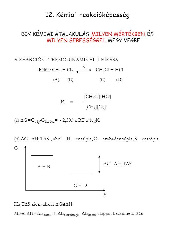 Példa: CH 4 + Cl 2 CH 3 Cl + HCl 4x405 238 3x405 -423 1x -332 1858 -1970  H= -1970 + 1858= -112kJ/mól K=10 18 Exoterm reakció: hőfelszabadulás Endoterm reakció: hőbefektetés Tapasztalat: nincs reakció – RT van reakció – fény v.
