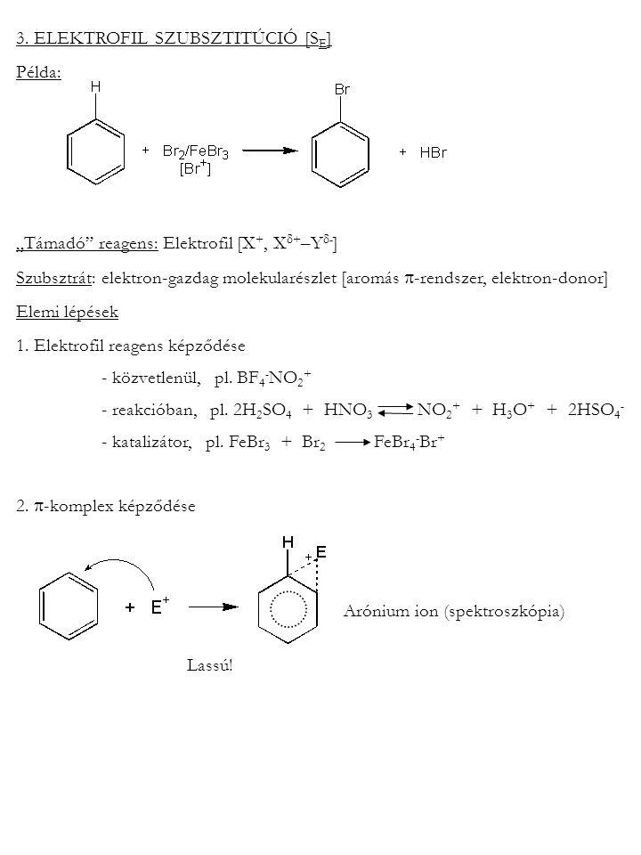 """3. ELEKTROFIL SZUBSZTITÚCIÓ [S E ] Példa: """"Támadó"""" reagens: Elektrofil [X +, X  + –Y  - ] Szubsztrát: elektron-gazdag molekularészlet [aromás  -ren"""