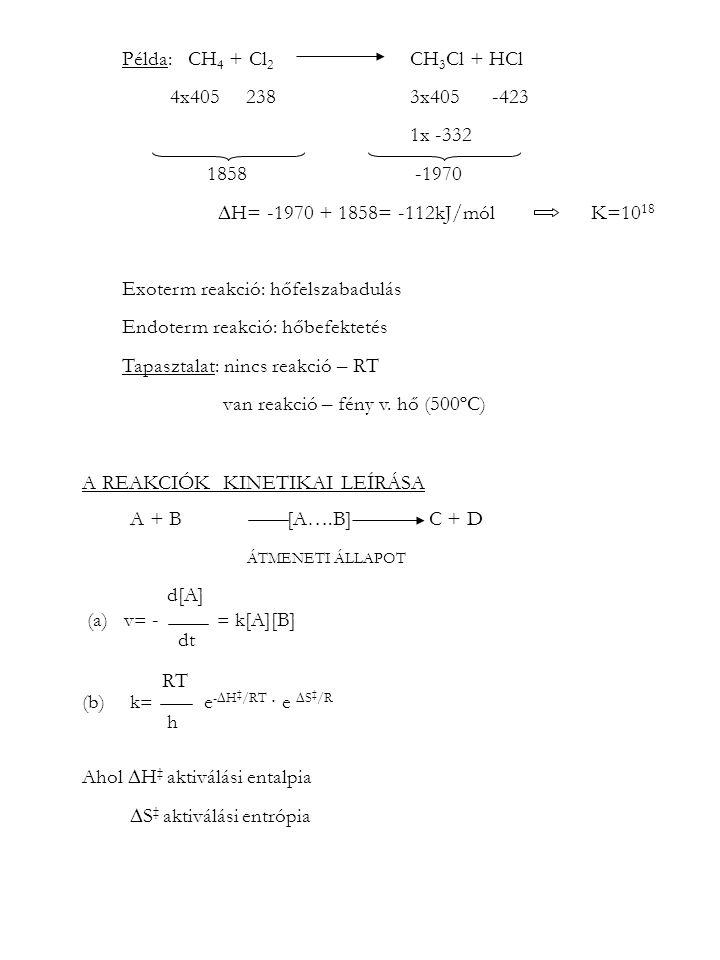Példa: CH 4 + Cl 2 CH 3 Cl + HCl 4x405 238 3x405 -423 1x -332 1858 -1970  H= -1970 + 1858= -112kJ/mól K=10 18 Exoterm reakció: hőfelszabadulás Endote