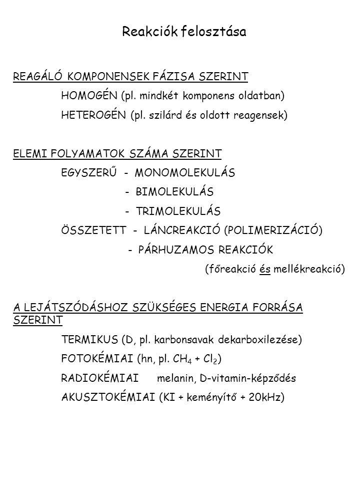 Reakciók felosztása REAGÁLÓ KOMPONENSEK FÁZISA SZERINT HOMOGÉN (pl. mindkét komponens oldatban) HETEROGÉN (pl. szilárd és oldott reagensek) ELEMI FOLY