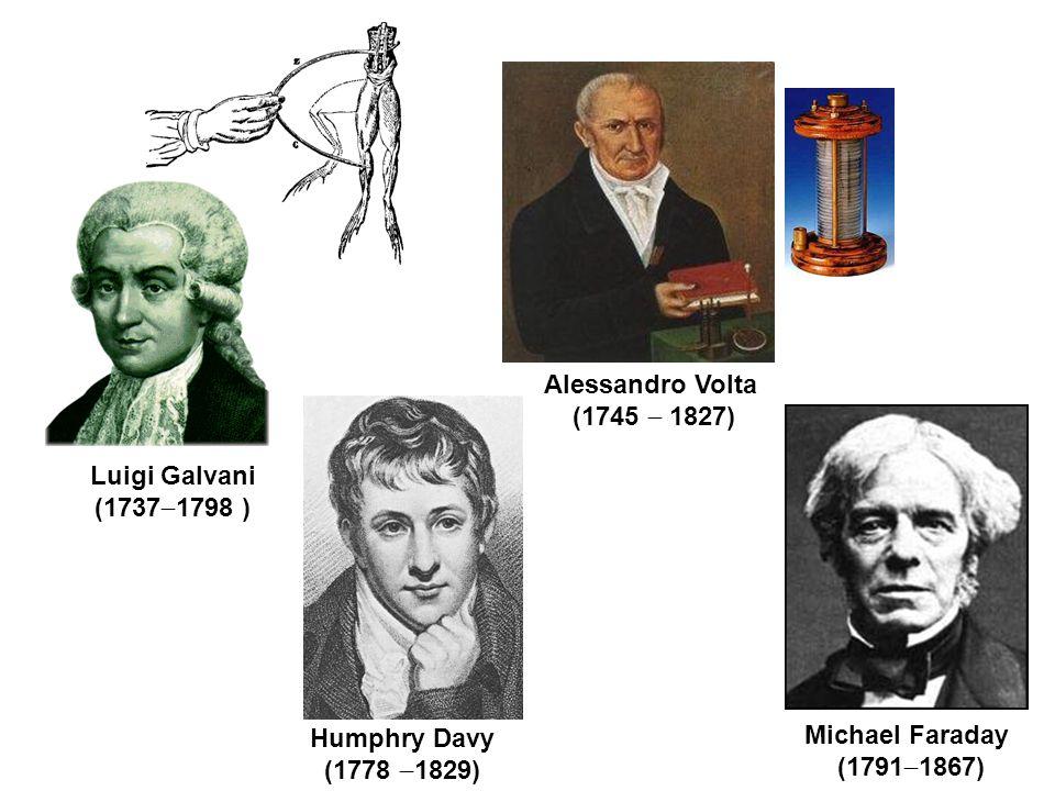 Luigi Galvani (1737  1798 ) Alessandro Volta (1745  1827) Humphry Davy (1778  1829) Michael Faraday (1791  1867)
