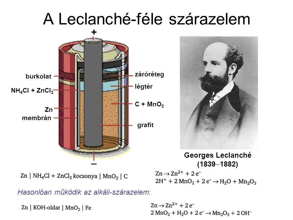 A Leclanché-féle szárazelem Georges Leclanché (1839  1882) _ + grafit C + MnO 2 légtér záróréteg Zn membrán NH 4 Cl + ZnCl 2 burkolat Hasonlóan működik az alkáli-szárazelem:
