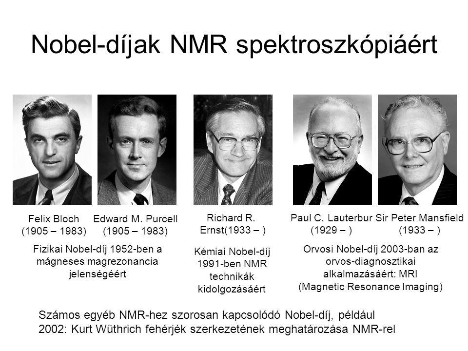Nobel-díjak NMR spektroszkópiáért Felix Bloch (1905 – 1983) Edward M. Purcell (1905 – 1983) Fizikai Nobel-díj 1952-ben a mágneses magrezonancia jelens