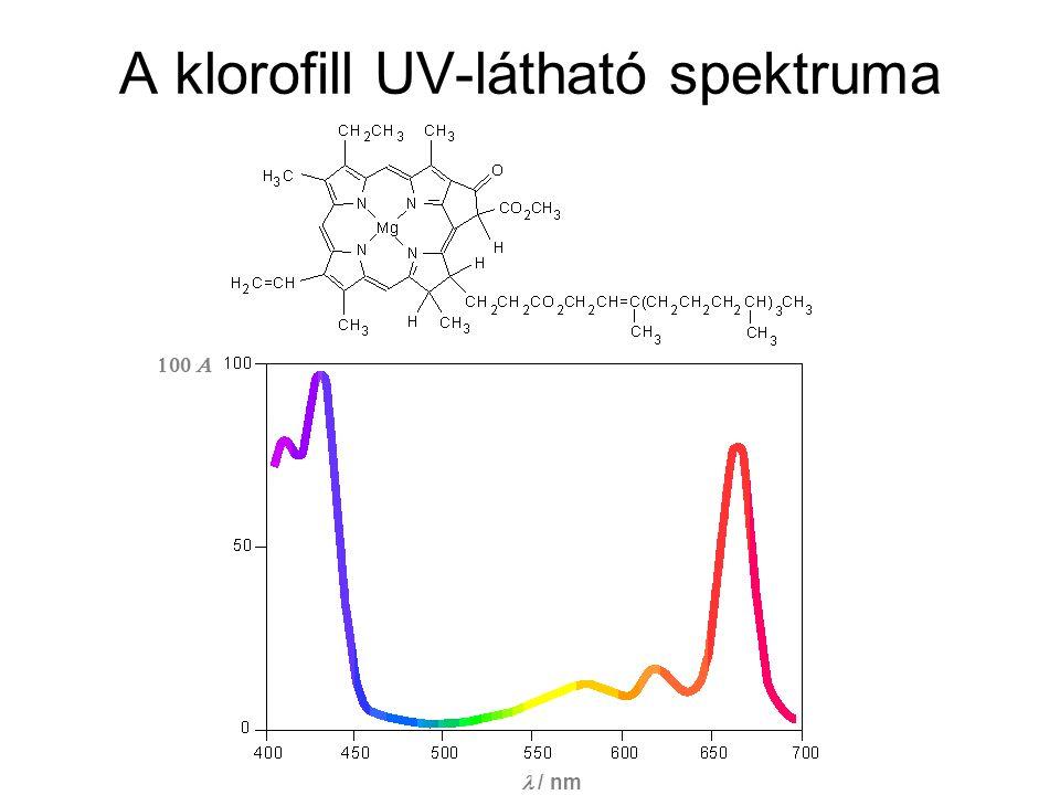 A klorofill UV-látható spektruma / nm 