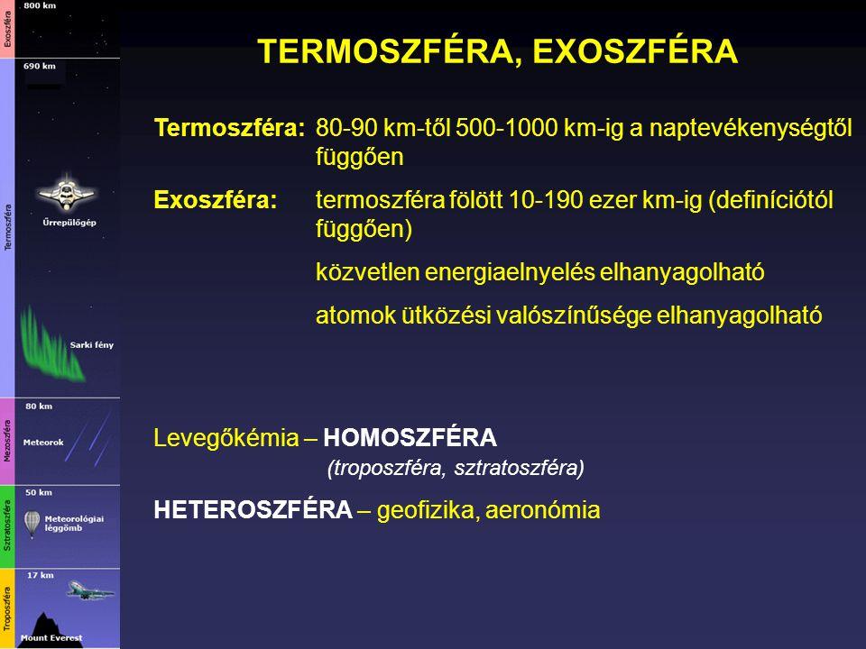 TERMOSZFÉRA, EXOSZFÉRA Termoszféra:80-90 km-től 500-1000 km-ig a naptevékenységtől függően Exoszféra: termoszféra fölött 10-190 ezer km-ig (definíciót