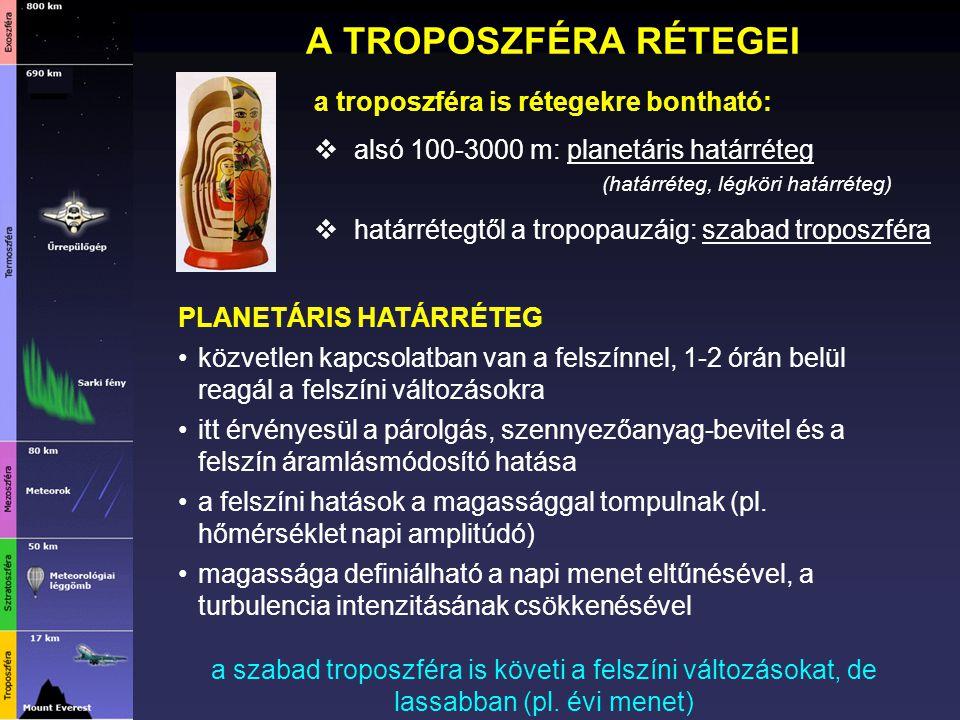 A TROPOSZFÉRA RÉTEGEI a troposzféra is rétegekre bontható:  alsó 100-3000 m: planetáris határréteg (határréteg, légköri határréteg)  határrétegtől a
