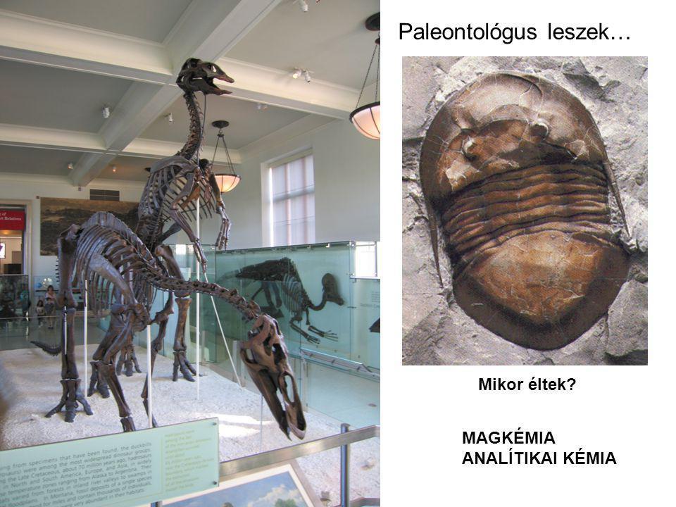 Paleontológus leszek… Mikor éltek? MAGKÉMIA ANALÍTIKAI KÉMIA