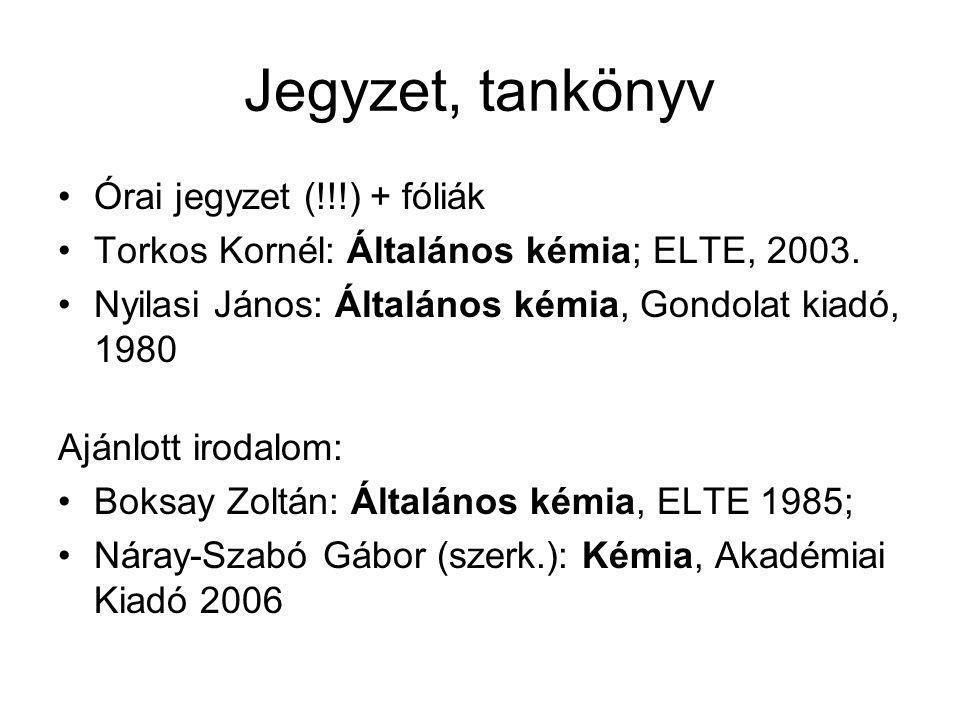 Jegyzet, tankönyv Órai jegyzet (!!!) + fóliák Torkos Kornél: Általános kémia; ELTE, 2003. Nyilasi János: Általános kémia, Gondolat kiadó, 1980 Ajánlot