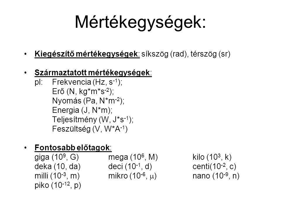 Mértékegységek: Kiegészítő mértékegységek: síkszög (rad), térszög (sr) Származtatott mértékegységek: pl: Frekvencia (Hz, s -1 ); Erő (N, kg*m*s -2 );